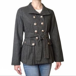 Forever 21 Military Style Pleated Wool Jacket